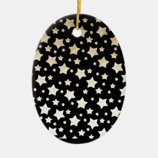 GOLD STARS Double-Sided OVAL CERAMIC CHRISTMAS ORNAMENT