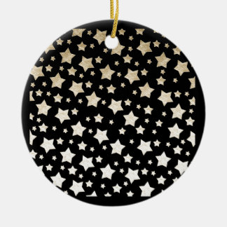 GOLD STARS Double-Sided CERAMIC ROUND CHRISTMAS ORNAMENT