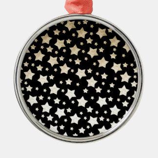 GOLD STARS ROUND METAL CHRISTMAS ORNAMENT