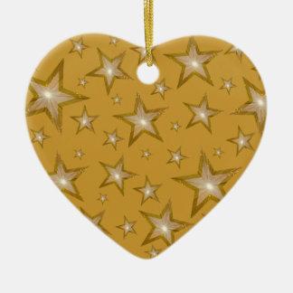 Gold Stars ornament heart gold