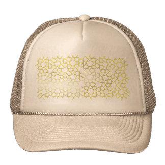 Gold Stars Pattern on Black Hats