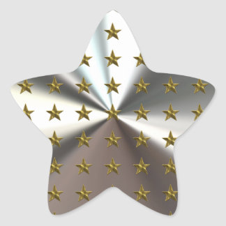 Gold Stars Pattern On Silver Star Stickers