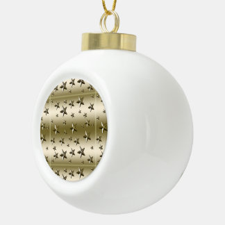 Gold Stars Pattern Starry Sparkle Metal Effect Ceramic Ball Christmas Ornament