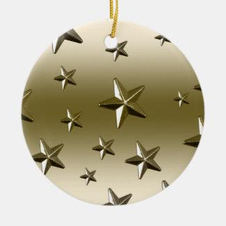 Gold Stars Pattern Starry Sparkle Metal Effect Ceramic Ornament