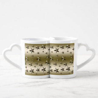 Gold Stars Pattern Starry Sparkle Metal Effect Coffee Mug Set