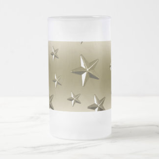 Gold Stars Pattern Starry Sparkle Metal Effect Frosted Glass Beer Mug
