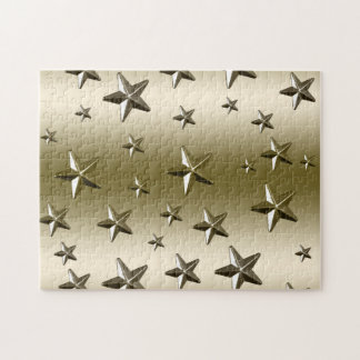 Gold Stars Pattern | Starry Sparkle Metal Effect Jigsaw Puzzle
