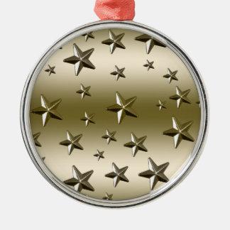 Gold Stars Pattern Starry Sparkle Metal Effect Metal Ornament
