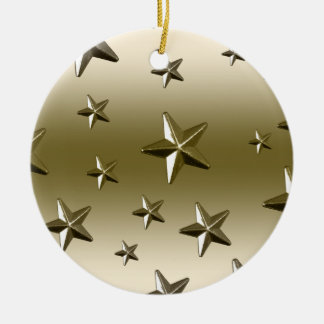 Gold Stars Pattern Starry Sparkle Metal Effect Double-Sided Ceramic Round Christmas Ornament