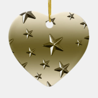 Gold Stars Pattern Starry Sparkle Metal Effect Double-Sided Heart Ceramic Christmas Ornament