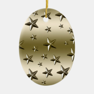 Gold Stars Pattern Starry Sparkle Metal Effect Double-Sided Oval Ceramic Christmas Ornament