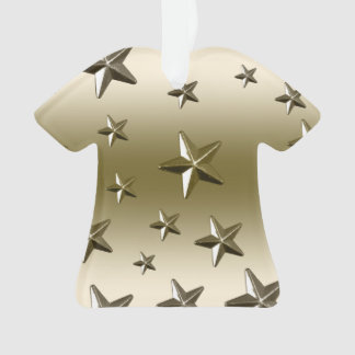 Gold Stars Pattern Starry Sparkle Metal Effect Ornament