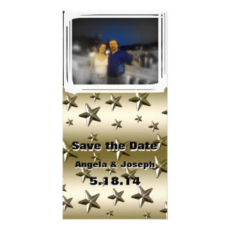 Gold Stars Pattern Starry Sparkle Metal Effect Photo Card Template