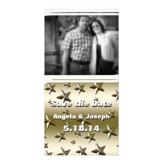 Gold Stars Pattern Starry Sparkle Metal Effect Photo Greeting Card