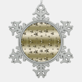 Gold Stars Pattern Starry Sparkle Metal Effect Snowflake Pewter Christmas Ornament