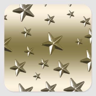 Gold Stars Pattern Starry Sparkle Metal Effect Square Sticker