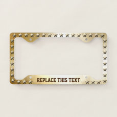 Gold Stars Pattern With Golden Background License Plate Frame