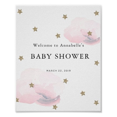 Gold Stars & Pink Clouds Baby Shower Welcome Sign