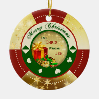 Gold Stars Poker Chip Gift Tag/Ornament Double-Sided Ceramic Round Christmas Ornament
