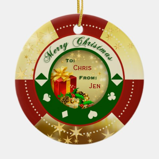 Gold Stars Poker Chip Gift Tag/Ornament Ceramic Ornament