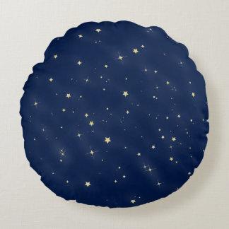 Gold Stars Round Pillow