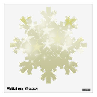 Gold Stars Snowflake Wall Sticker