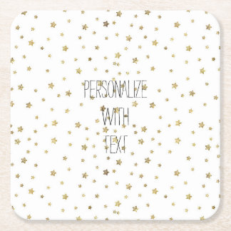 Gold Stars Square Paper Coaster