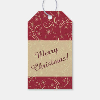 Gold Stars Swirl Christmas Pack Of Gift Tags