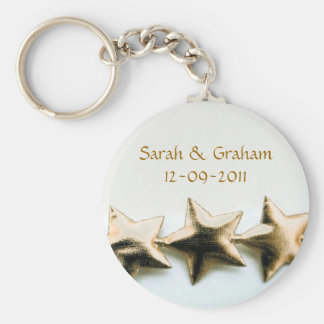 Gold Stars Wedding Keychain