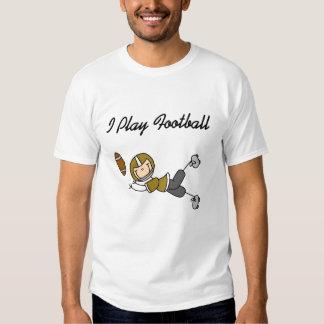 Gold Stick Figure Football Player Tee Shirt