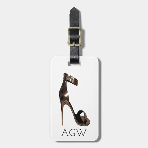 Gold stiletto sandles with your monogram bag tag