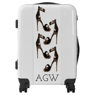 Gold stiletto sandles with your monogram luggage