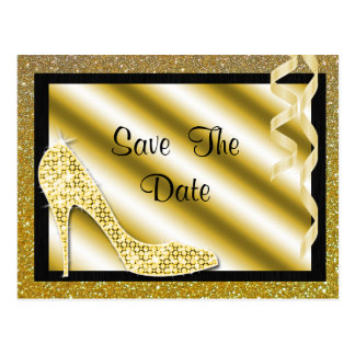 Gold Stiletto & Streamers 50th Save The Date Postcard