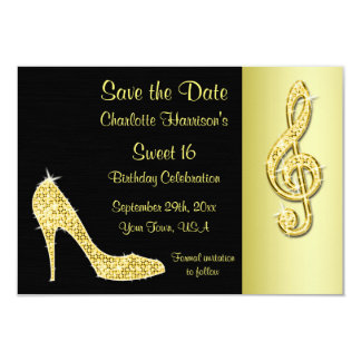 Gold Stiletto & Treble Cleft 16th Save The Date Card