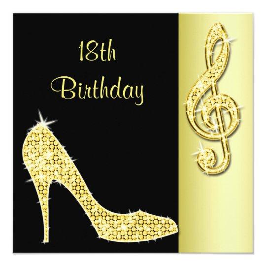 Gold Stiletto Treble Cleft 18th Birthday Invitation