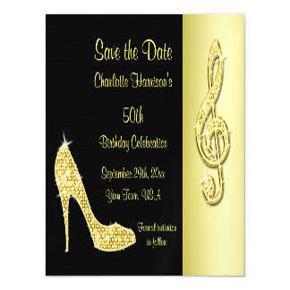 Gold Stiletto & Treble Cleft 50th Save The Date Magnetic Card