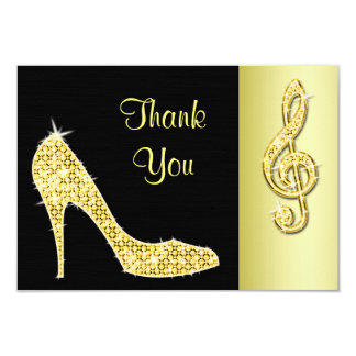 Gold Stiletto & Treble Cleft Thank You Card