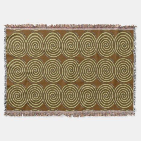 Gold Stitch Spirals Throw Blanket