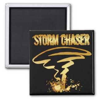 GOLD STORM CHASER 2 INCH SQUARE MAGNET