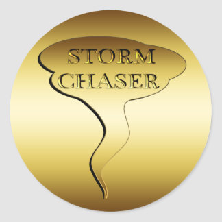 GOLD STORM CHASER CLASSIC ROUND STICKER