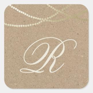 Gold string of lights monogram sticker