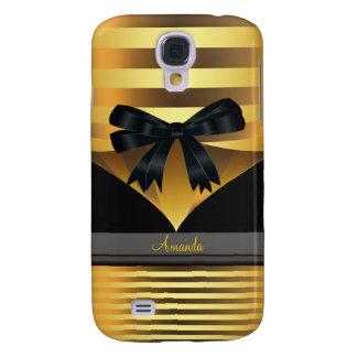 Gold Stripe Black Bow i Samsung Galaxy S4 Cover