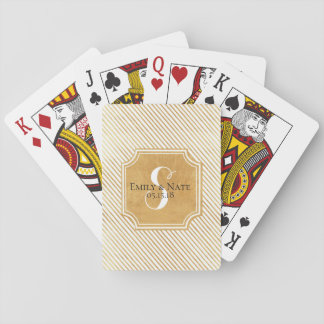Gold Stripe Custom Wedding Playing Cards