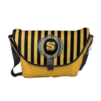 Gold Stripe Double Monogram Messenger Bag
