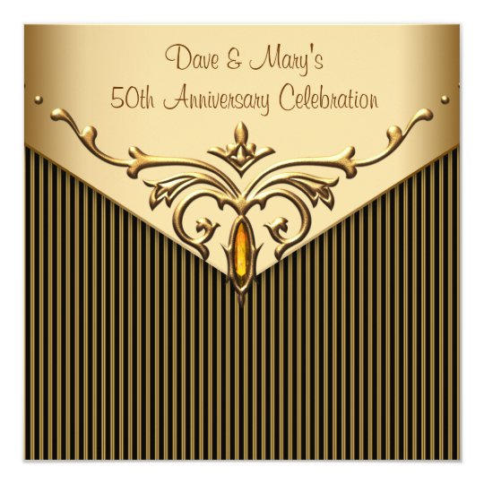 Gold Stripe Gold 50th Anniversary Party Card