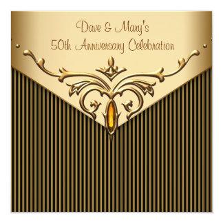 Gold Stripe Gold 50th Anniversary Party 5.25x5.25 Square Paper Invitation Card