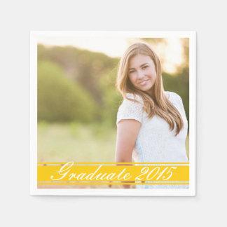 Gold Stripe Graduation Party Paper Napkin Set