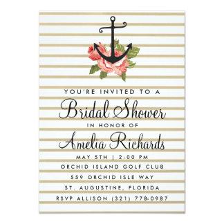Gold Stripe Nautical Anchor Bridal Shower Invite