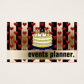 Gold Stripe Red Heart Birthday Cake Events Planner Business Card