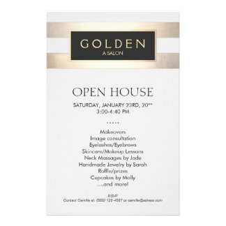 Gold Striped Beauty Salon and Spa Flyer